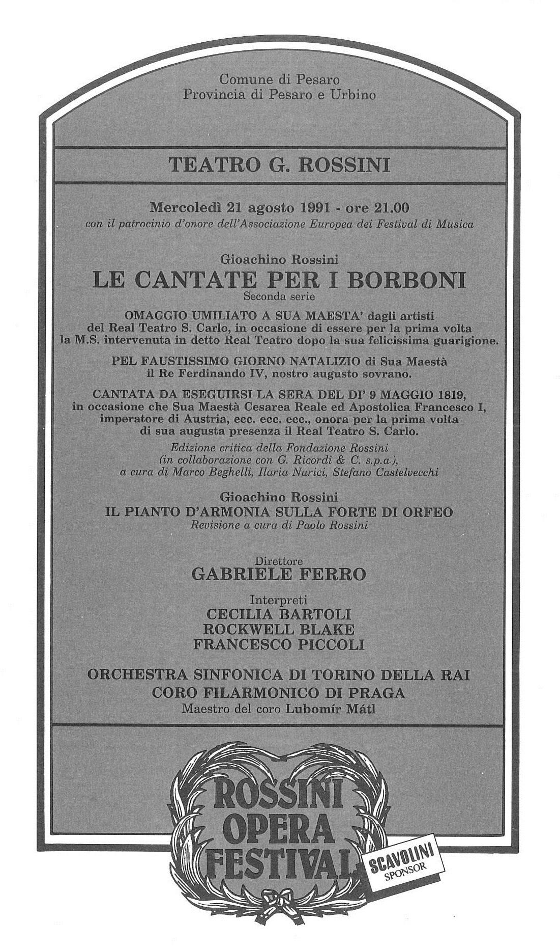 Le cantate per i Borboni 1991