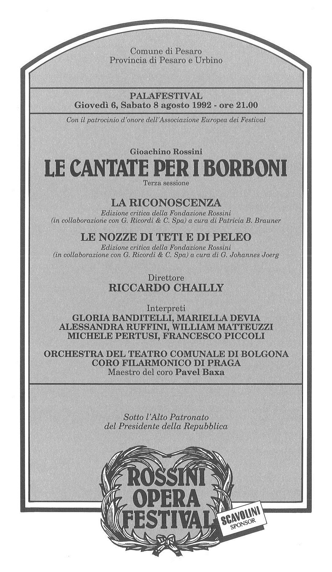 Le cantate per i Borboni_La riconoscenza_Le nozze di Teti, e di Peleo 1992