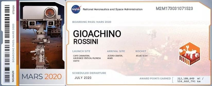 Rossini Boarding Pass to Mars